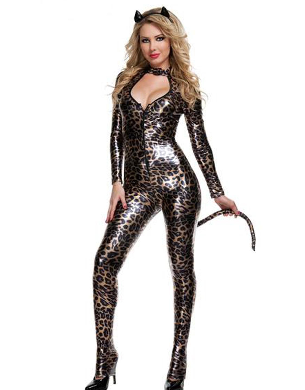 a7ffc527474 Leopard Print Catsuit Cats Costume Wonder Beauty lingerie dress ...