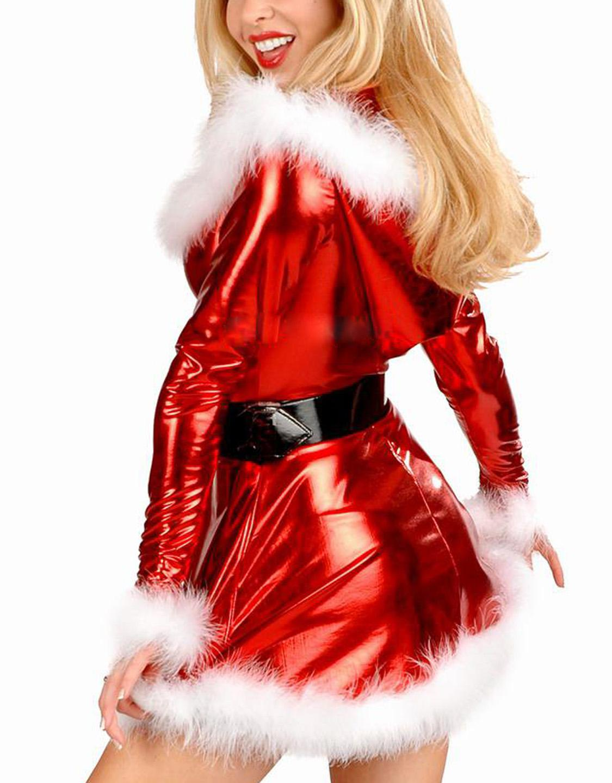1775f58cace Ladies Shiny Metallic Sexy Christmas Santa Costume Party Dress