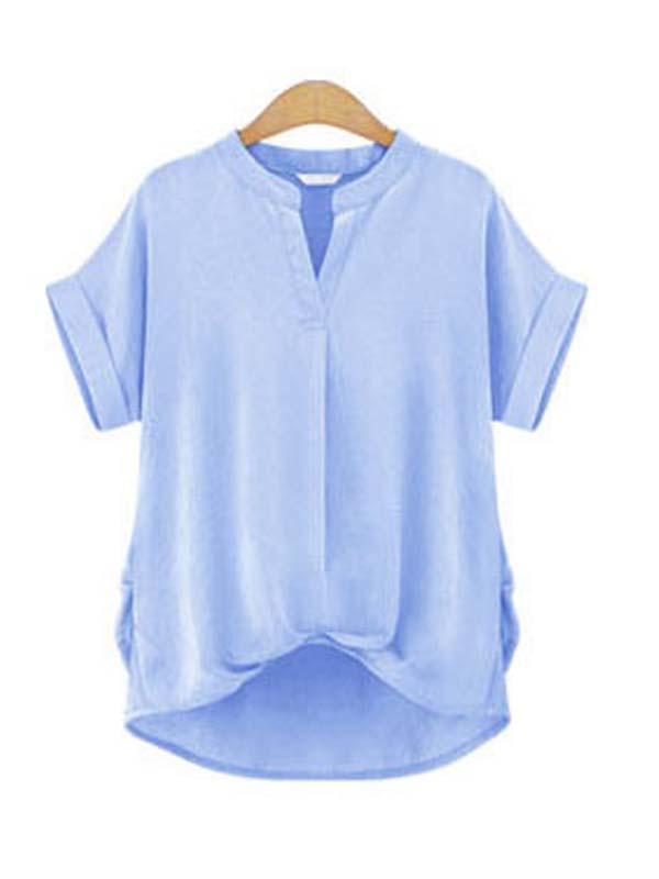 Plus size short sleeve t shirt light blue wonder beauty for Plus size light blue shirt
