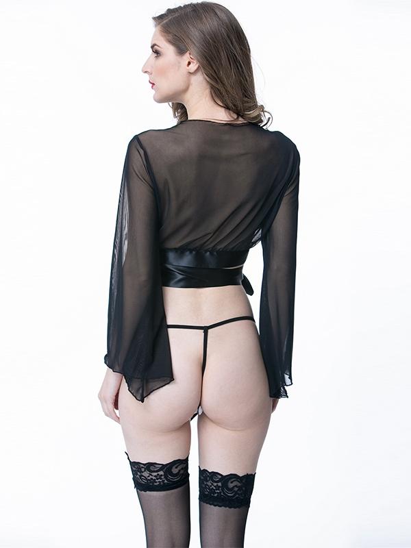 a9580c84e8a1b Black Long Sleeve Meshlingerie Babydoll Tops Wonder