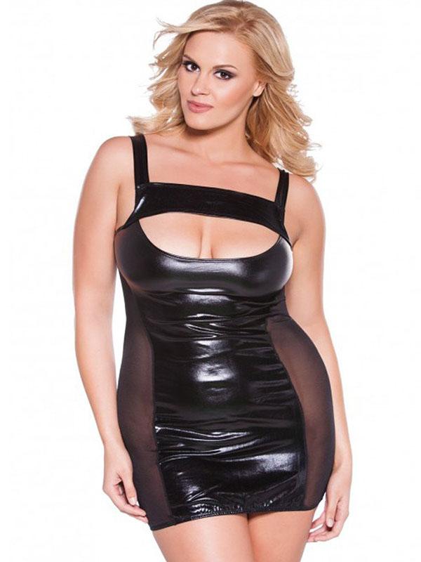 5790caf3984 Black Sexy Plus Size Vinyl Dress Wonder Beauty lingerie dress ...