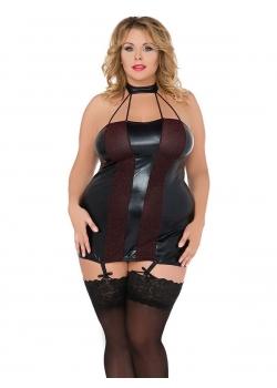 9aaf502a433 Sexy Blck Plus Size Vinyl Dress Wonder Beauty lingerie dress Fashion ...