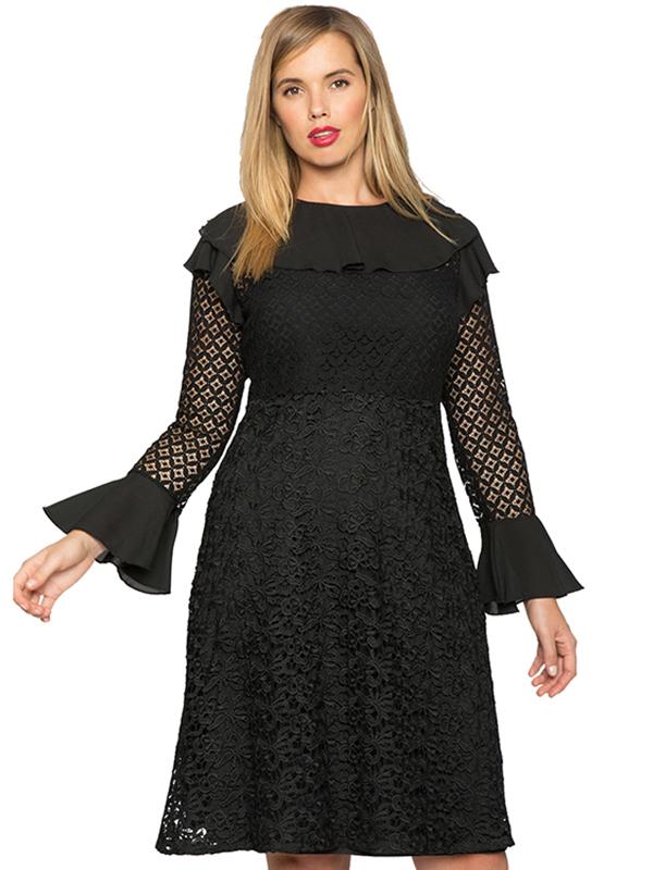 Black L-3XL Lace Long Sleeves Plus Size Dress_Wonder Beauty ...