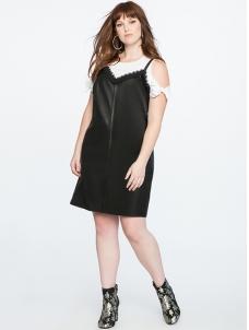 Black L-3XL Faux Leather with Lace Plus Size Dress_Wonder Beauty ...