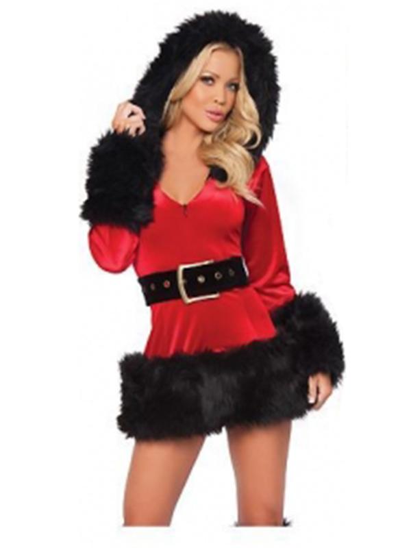 Fur Trim Velvet Santa Costume Christmas costume  sc 1 st  Wonder Beauty & Hooded Fur Trim Velvet Santa Costume Christmas costume