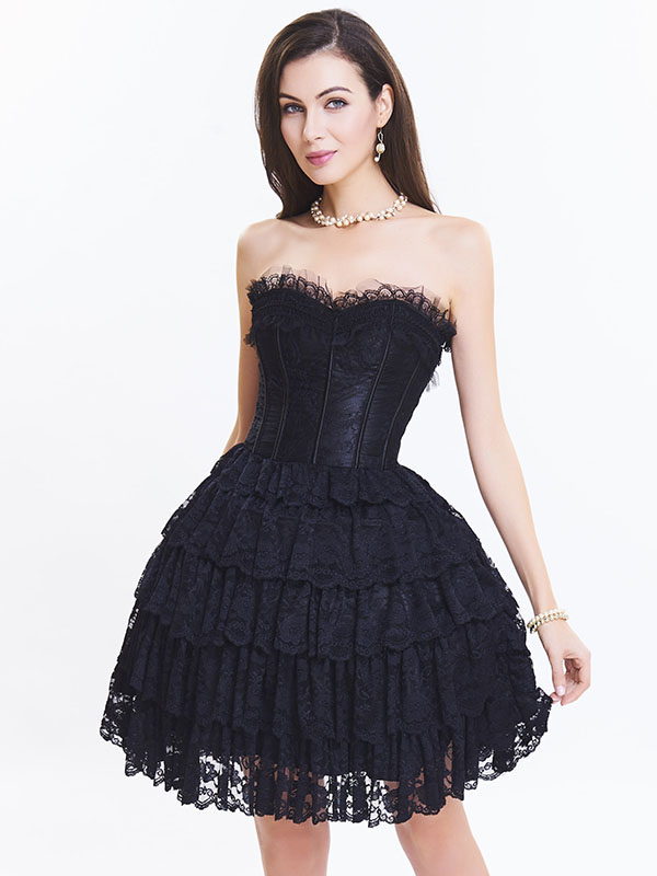 e1a087c70 Black Sexy Strapless Lace Corset Dress for Women