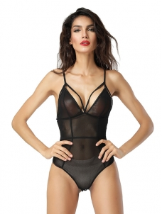 8c6c42c345 Sexy Spaghetti Strap See Through V Neck Women Bodysuit Black W4621337C
