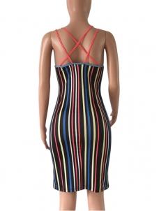 9d6f8dc895c0d Red Sexy Sleeveless Tight Striped Mini Dress