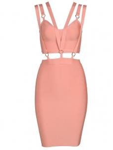 f2ef011b3d Summer Slim Backless Sleeveless Bandage Dress Dark Pink  US 31.00