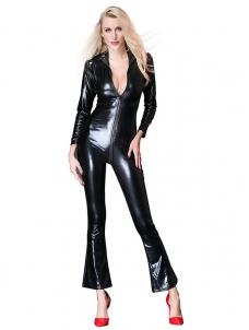 4a87e915bf86 Women Long Sleeve Skinny Faux Vinyl Jumpsuit W926766