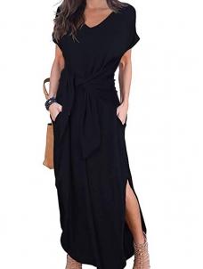 e4236a5a343 Black Blue Green Casual Loose Pocket Short Sleeve Split Maxi Dress W659035