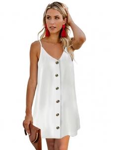 c9ffa964f3e Black White Green Blue Buttoned Slip Dress W659039