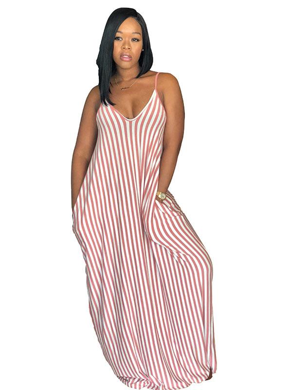 Pink Women Casual Sexy Summer Stripe Bodycon Long Maxi Dresses 59d16eabc